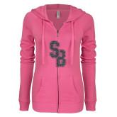 ENZA Ladies Hot Pink Light Weight Fleece Full Zip Hoodie-Interlocking SB Graphite Soft Glitter