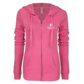 ENZA Ladies Hot Pink Light Weight Fleece Full Zip Hoodie-University Mark Vertical