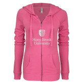 ENZA Ladies Hot Pink Light Weight Fleece Full Zip Hoodie-University Mark Vertical White Soft Glitter