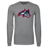 Grey Long Sleeve T Shirt-Wolfie Head