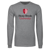 Grey Long Sleeve T Shirt-University Mark Vertical