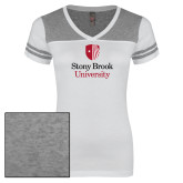 Ladies White/Heathered Grey Juniors Varsity V Neck Tee-University Mark Vertical