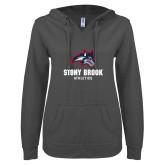 ENZA Ladies Dark Heather V Notch Raw Edge Fleece Hoodie-Wolfie Head and Stony Brook Athletics