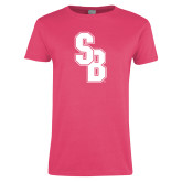 Ladies Fuchsia T Shirt-Interlocking SB