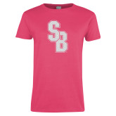 Ladies Fuchsia T Shirt-Interlocking SB White Soft Glitter