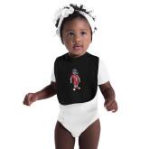 Black Baby Bib-Illustrated Soccer Wolfie