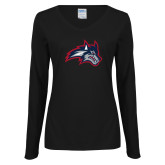 Ladies Black Long Sleeve V Neck Tee-Wolfie Head