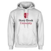 White Fleece Hoodie-University Mark Vertical