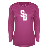 Ladies Syntrel Performance Raspberry Longsleeve Shirt-Interlocking SB
