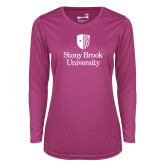 Ladies Syntrel Performance Raspberry Longsleeve Shirt-University Mark Vertical