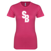 Ladies SoftStyle Junior Fitted Fuchsia Tee-Interlocking SB