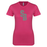 Ladies SoftStyle Junior Fitted Fuchsia Tee-Interlocking SB Silver Soft Glitter