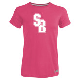 Ladies Russell Pink Essential T Shirt-Interlocking SB