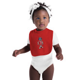 Red Baby Bib-Illustrated Soccer Wolfie