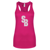 Next Level Ladies Raspberry Ideal Racerback Tank-Interlocking SB White Soft Glitter