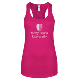 Next Level Ladies Raspberry Ideal Racerback Tank-University Mark Vertical White Soft Glitter
