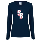 Ladies Navy Long Sleeve V Neck Tee-Interlocking SB