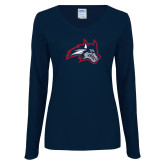 Ladies Navy Long Sleeve V Neck Tee-Wolfie Head