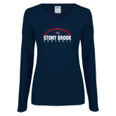Ladies Navy Long Sleeve V Neck Tee-Football Stacked