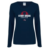 Ladies Navy Long Sleeve V Neck Tee-Soccer Stacked