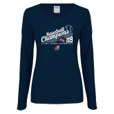 Ladies Navy Long Sleeve V Neck Tee-2019 Baseball Champions