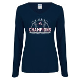 Ladies Navy Long Sleeve V Neck Tee-2019 America East Baseball Champions