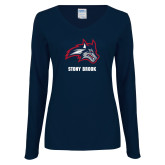 Ladies Navy Long Sleeve V Neck Tee-Wolfie Head and Stony Brook