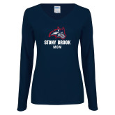Ladies Navy Long Sleeve V Neck Tee-Mom