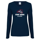 Ladies Navy Long Sleeve V Neck Tee-Alumni