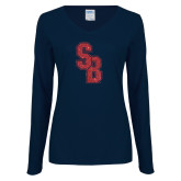 Ladies Navy Long Sleeve V Neck Tee-Interlocking SB Red Glitter