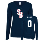 Ladies Navy Long Sleeve V Neck Tee-Interlocking SB, Custom Tee w/ Name and #