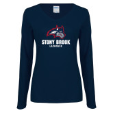 Ladies Navy Long Sleeve V Neck Tee-Wolfie Head Stony Book Lacrosse