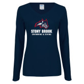 Ladies Navy Long Sleeve V Neck Tee-Wolfie Head Stony Book Swimming and Diving
