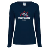 Ladies Navy Long Sleeve V Neck Tee-Wolfie Head Stony Book Tennis