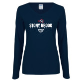 Ladies Navy Long Sleeve V Neck Tee-Basketball Sharp Net