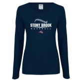 Ladies Navy Long Sleeve V Neck Tee-Baseball Seams