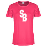 Ladies Performance Hot Pink Tee-Interlocking SB