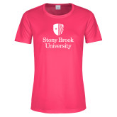 Ladies Performance Hot Pink Tee-University Mark Vertical