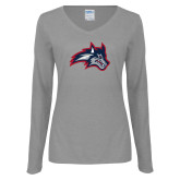 Ladies Grey Long Sleeve V Neck Tee-Wolfie Head