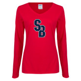 Ladies Red Long Sleeve V Neck Tee-Interlocking SB
