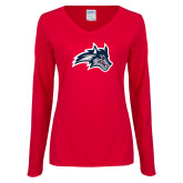 Ladies Red Long Sleeve V Neck Tee-Wolfie Head