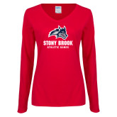 Ladies Red Long Sleeve V Neck Tee-Wolfie Head Stony Book Athletic Bands