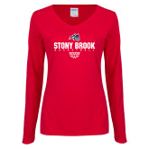 Ladies Red Long Sleeve V Neck Tee-Basketball Sharp Net
