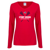 Ladies Red Long Sleeve V Neck Tee-Lacrosse Crossed Sticks