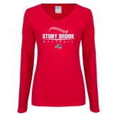 Ladies Red Long Sleeve V Neck Tee-Baseball Seams