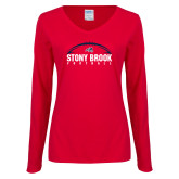 Ladies Red Long Sleeve V Neck Tee-Football Stacked