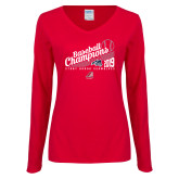 Ladies Red Long Sleeve V Neck Tee-2019 Baseball Champions