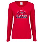 Ladies Red Long Sleeve V Neck Tee-2019 America East Baseball Champions