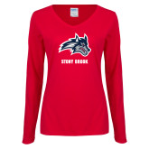 Ladies Red Long Sleeve V Neck Tee-Wolfie Head and Stony Brook