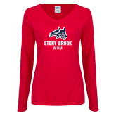 Ladies Red Long Sleeve V Neck Tee-Mom